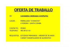 (2015 - 08 - 28) OFERTA TRABALLO CAMARERA AMARILLO