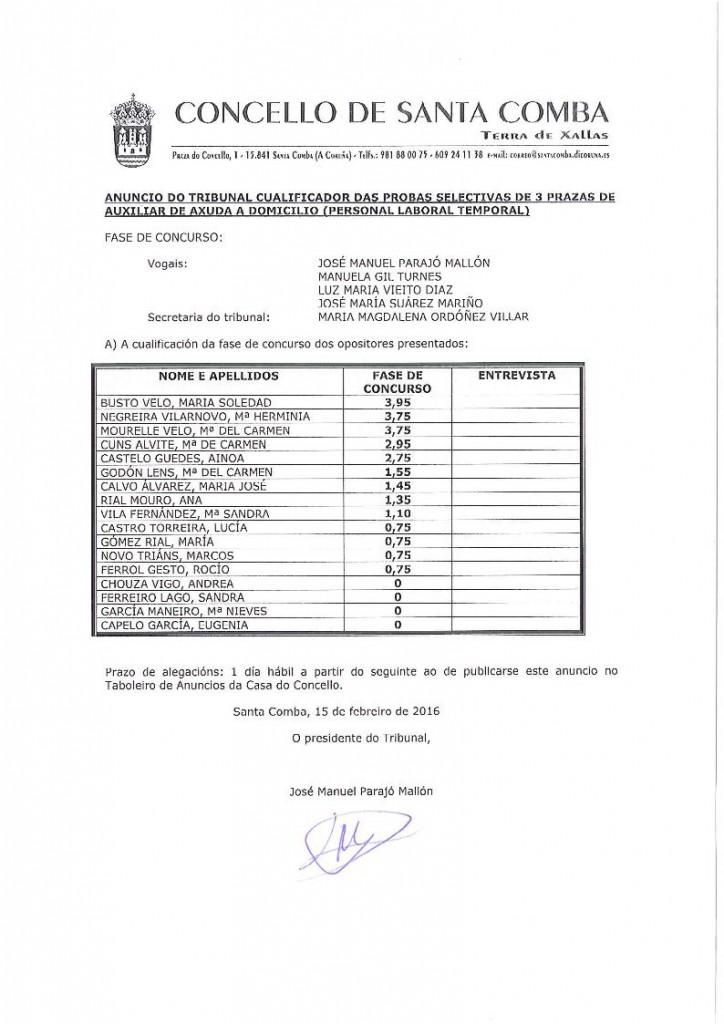 (2016 - 02 - 15) ANUNCIO DO TRIBUNAL CUALIFICADOR DAS PROBAS SELECTIVAS DE 3 AUXILIARES DE AXUDA A DOMILCILIO.page1