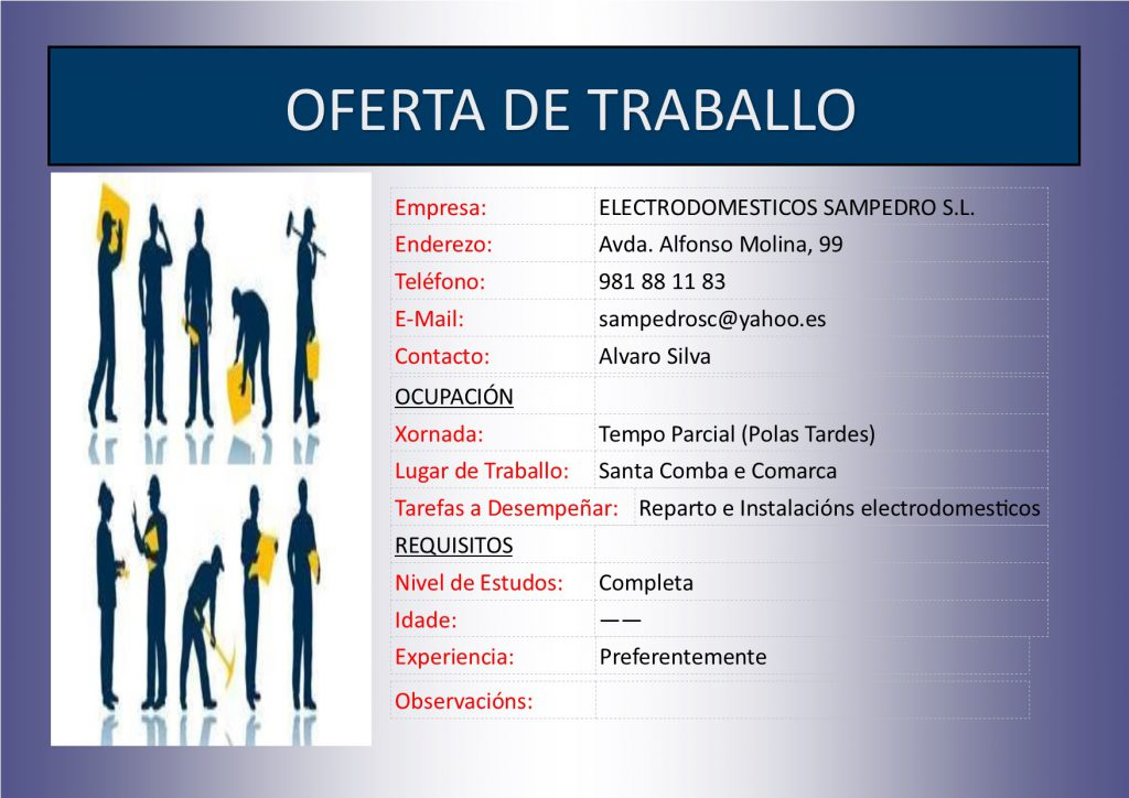 (2016 - 05 - 26) OFERTA DE TRABALLO MILAR SAMPEDRO