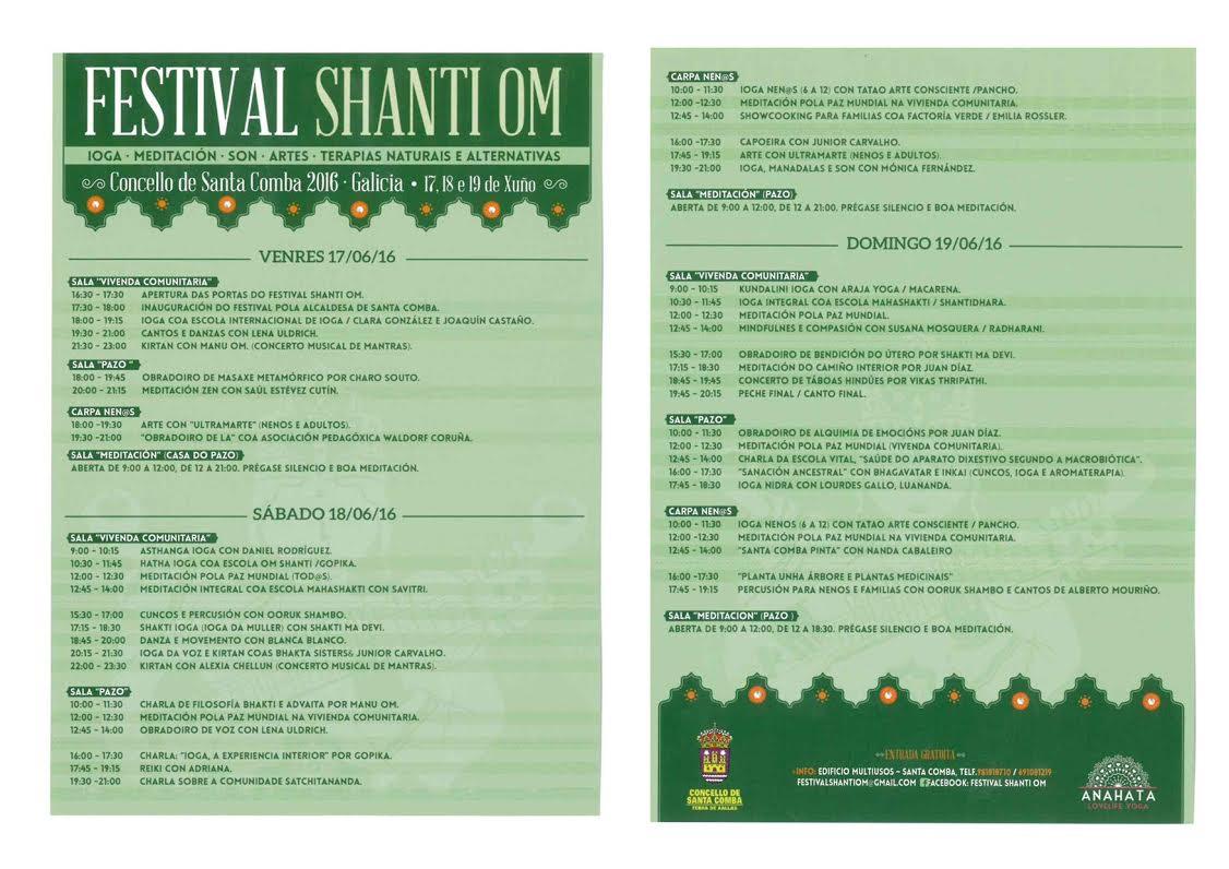 (2016 - 06 - 16) festival shanti om horarios